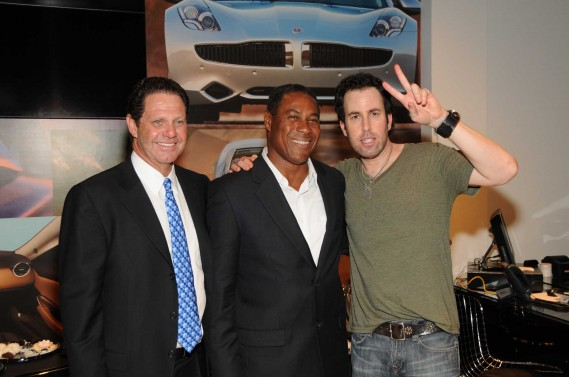 Warren Zinn, owner of Warren Henry Auto Group, former Miami Dolphins player Nat Moore, and Adam Gaynor, former member of Matchbox Twenty