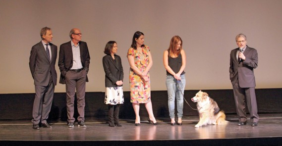 Actors Richard Jenkins & Kevin Kline, executive producer & co-writer Meg Kasdan, producer Elizabeth Redleaf, canine trainer, Casey, and director Lawrence Kasdan during a Q & A session for Darling Companion