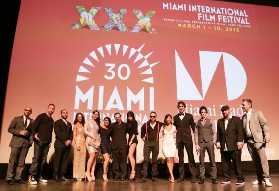 Eenie Meenie Miney Moe cast & crew including: Aaron Salgado (producer), Andres Dominguez (actor), Oscar Torres (actor), David Lago (actor), Jokes Yanes (director) with Jaie Laplante (MIFF executive director)