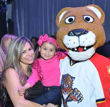 P2. Denise Gomez; Melissa Gomez, 2013 Fancy Jeans Child Honoree; and Florida Panthers Mascot Stanley- Photo Credit-Darryl Nobles