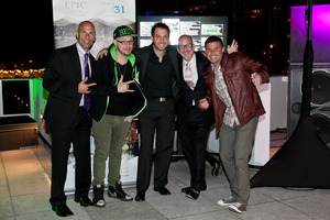 """From Left to Right: Brett Orlando, regional director of operations for Kimpton's Florida Hotels; Robbie Wilde, Celebrity DJ (AKA """"That Deaf DJ""""); Jared Shapiro, new editor-in-chief of Ocean Drive Magazine; Eric Jellson, area director of sales & marketing, Kimpton Hotels & Restaurants; and Chris Cruz, on-air personality. *Photos Courtesy of photoActiva."""