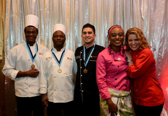 Arielle Weekes, ARC Broward Culinary Institute Student Chef of the Year; Calvin Wood, Chef Andres Marin, Chef Shermika Lyons and Chef Michelle Bernstein