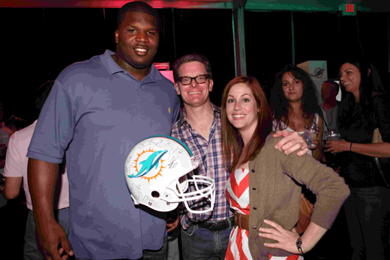 Fins Weekend - Miami Dolphins defensive lineman Kheeston Randall and participants at Hook and Tackle Captain's Party