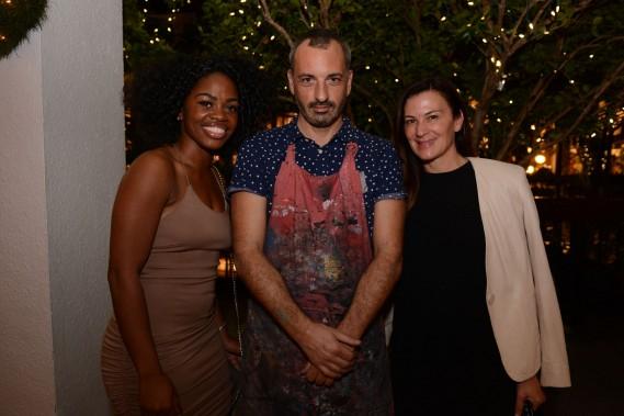 Sasha Scott, Julian Colombier, Sarah Harrelson at diptyque boutique at Bal Harbour Shops, Miami