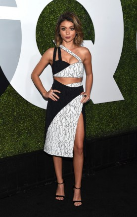 Sarah Hyland wore rings by Bavna, Maxior and Marli to the GQ 20th Anniversary Men Of The Year Party at Chateau Marmont on December 3, 2015 in Los Angeles, California.