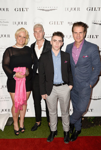 (L-R) Denise Fraile,Christopher Bancroft Mandly, Brookes Kossover and Vincent DePaul attend the DuJour Media, Gilt & JetSmarter party to kick off Art Basel at The Confidante on November 30, 2016 in Miami Beach, Florida. (Photo by Gustavo Caballero/Getty Images for DuJour)