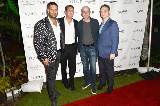 (L-R) InList co-founders Gideon Kimbrell, Michael Capponi, Hudson's Bay Company President Jonathan Greller and DuJour founder Jason Binn attend the DuJour Media, Gilt & JetSmarter party to kick off Art Basel at The Confidante on November 30, 2016 in Miami Beach, Florida. (Photo by Gustavo Caballero/Getty Images for DuJour)
