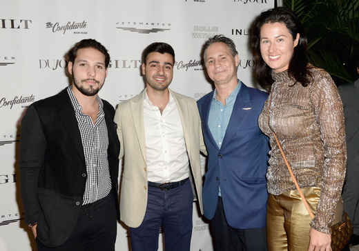 Guest, CEO of JetSmarter Sergey Petrossov, Founder of DuJour Jason Binn and Lolita Petrossov attend the DuJour Media, Gilt & JetSmarter party to kick off Art Basel at The Confidante on November 30, 2016 in Miami Beach, Florida. (Photo by Gustavo Caballero/Getty Images for DuJour)