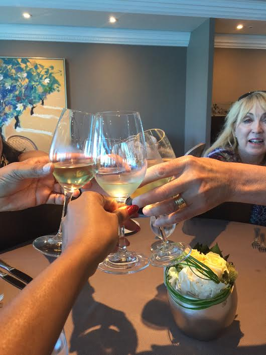 Maria Navas (Azamara PR), Gerry Barker, Daedrian McNaughton, Arlene Satchell, Pamela Barker at Aqualina restaurant onboard Azamara Quest in Port Miami