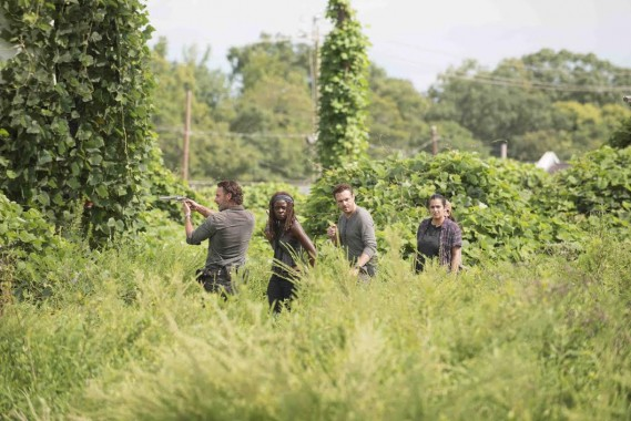 """Andrew Lincoln as Rick Grimes, Danai Gurira as Michonne, Ross Marquand as Aaron, Alanna Masterson as Tara Chambler in AMC's """"The Walking Dead"""" Season 7. Episode 9 - Photo Credit: Gene Page/AMC"""