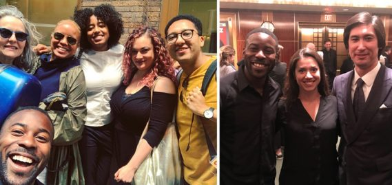 Left: Blake-Anthony with Tracey Robertson Carter (second from left) and Violin Fellow Alex Gonzalez (far right); Right: Blake-Anthony with alumni Caroline Gilbert and Dean Whiteside