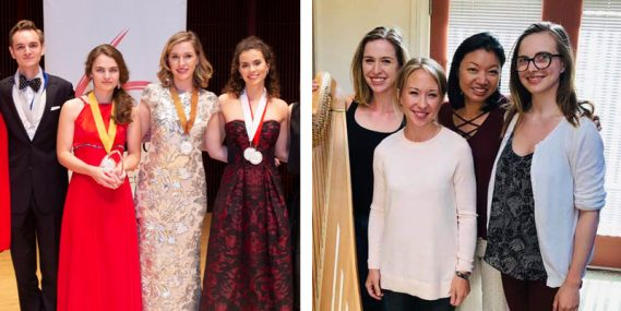 Left: Chloe with other Ima Hogg Competition finalists; Right: Chloe at Tanglewood Music Festival with NWS harp alumna Julie Smith Phillips (second from left)