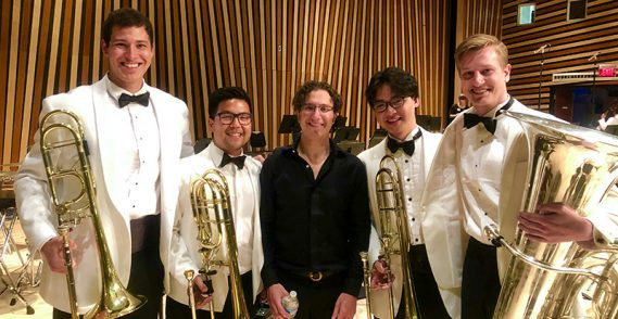 New Trombone Fellow Guangwei Fan (pictured below ,second from right) performed at the National Repertory Orchestra. He's pictured here with NWS alumnus and Music Director of the Louisville Orchestra, Teddy Abrams (center).