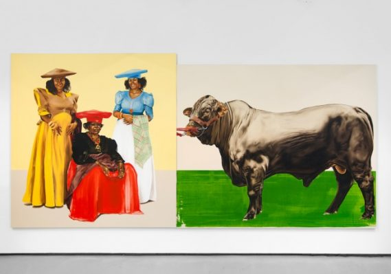 Meleko Mokgosi. Democratic Intuition, Lerato: Philia I, 2016. Two panels: oil on canvas. 96 x 198 1/2 inches. © Meleko Mokgosi. Courtesy of the artist and Jack Shainman Gallery, New York