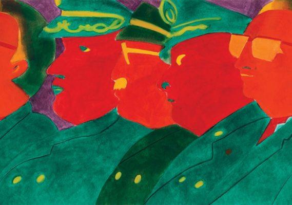 Beatriz González. Los papagayos, 1987. Oil on paper. 29 1/2 x 78 inches. Collection Pérez Art Museum Miami, gift of Jorge M. Pérez