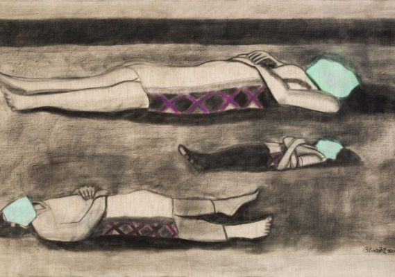 Beatriz González. Los Predicadores, 2000. Charcoal and pastel on canvas. 48 9/16 x 82 1/2 x 1 3/4 inches. Collection Pérez Art Museum Miami, museum purchase with funds provided by Jorge M. Pérez