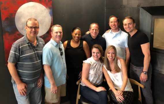 From left to right: Tom Hadley, Christopher Schnell, Ebonee Thomas, Todd Levy, Daniel Jordan, Miles Jaques, Grace Browning and Jennifer Best Takeda