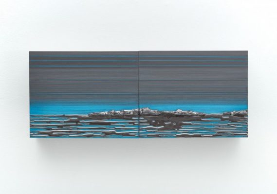 Teresita Fernández. Rise and Fall #16, 2017. Solid graphite and pencil on wood panel. 8 x 20 x 2 inches. Collection of the artist. Courtesy Lehmann Maupin, New York, Hong Kong and Seoul. Photo by Matthew Herrmann