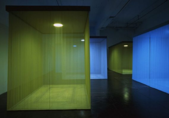Teresita Fernández, Borrowed Landscape, 1998. Wood, fabric, oculus light, pencil, and paint, dimensions variable. Commissioned by Artpace, A Foundation for Contemporary Art, San Antonio, Texas. Courtesy the artist and Lehmann Maupin, New York, Hong Kong, and Seoul