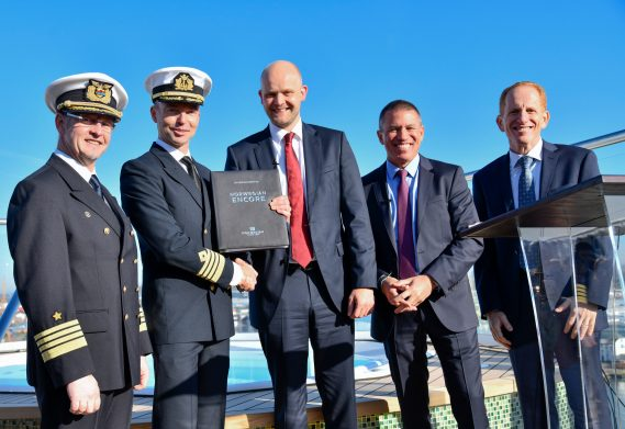 Norwegian Cruise Line takes delivery of Norwegian Encore from Meyer Werft in Bremerhaven, Germany.  (From left to right: Yard Captain Wolfgang Thos of Meyer Werft; Captain Niklas Persson of Norwegian Encore; Tim Meyer, managing director of Meyer Werft; Andy Stuart, president and CEO of Norwegian Cruise Line; and Harry Sommer, incoming president and CEO of Norwegian Cruise Line)