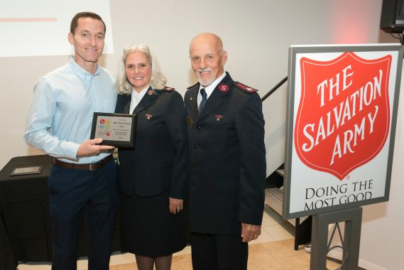 Michael Gossman with Major Connie Long and Major Stephen Long, The Salvation Army  of Broward County Area Commanders