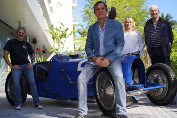 Cyril Gaultier; Greg Jones, Vehicle Owner with Claude (parrot); Caroline and Michel Bugatti, Granddaughter and Son of legendary carmaker Ettore Bugatti.