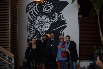 Sinem Kaya, General Manager; Israeli Artist Pilpeled; Marc Lawrence, LLB Group and hotel co-owner; SOBE IS LOVE artist Claudio Ciaravolo; and Valerio Spinaci, Co-Founder, Talking Art. Pictured Left – Ciaravolo and Pilpeled.