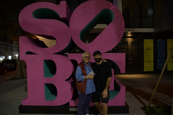 SOBE IS LOVE artist Claudio Ciaravolo and Israeli Artist Pilpeled Celebrate the return of iconic Miami Beach landmark to its new home in front of Kimpton Angler's Hotel South Beach..