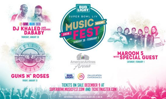 Guns N' Roses, Maroon 5, DJ Khaled and Friends, DaBaby and more to Perform at Bud Light Super Bowl Music Fest