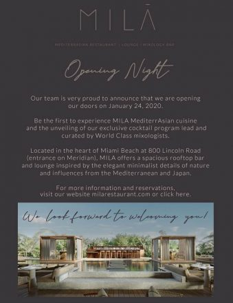 Lincoln Road Welcomes MILA Restaurant
