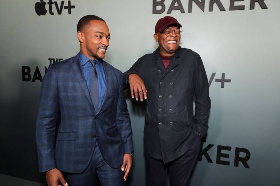 "Anthony Mackie and Samuel L. Jackson celebrate the Apple Original ""The Banker"" at The National Civil Rights Museum in Memphis"