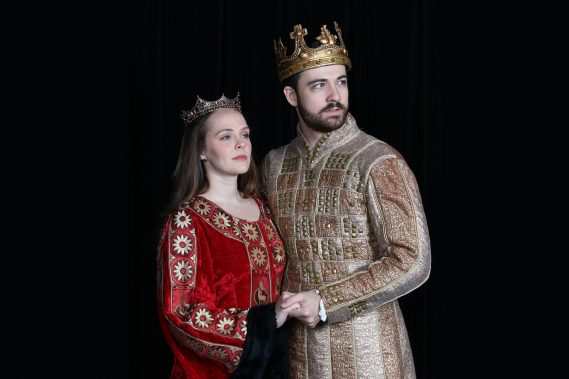 Kayleen Seidl as Guenevere and Britt Michael Gordon as King Arthur in CAMELOT at Actors' Playhouse at the Miracle Theatre. Photo by Alberto Romeu.