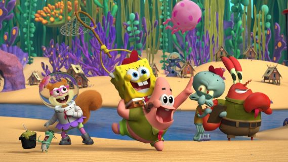 From L-R: Plankton, Sandy, SpongeBob, Patrick, Squidward and Mr. Krabs in Nickelodeon's Kamp Koral: SpongeBob's Under Years.