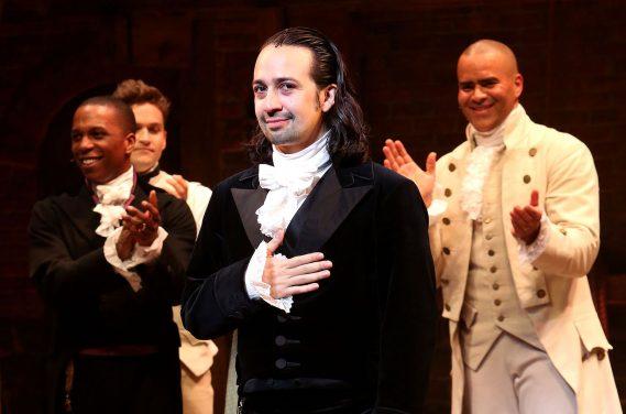 "Bruce Glikas/Bruce Glikas/FilmMagic Lin-Manuel Miranda performs his final performance as ""Alexander Hamilton"" in ""Hamilton"" on Broadway at The Richard Rogers Theatre on July 9, 2016 in New York"