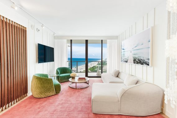 The newly renovated Oasis Guest Suite at W South Beach, designed as a beach retreat by Urban Robot Associates.