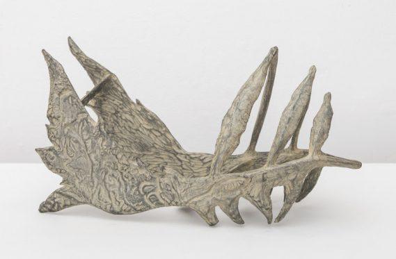 Helen Evans Ramsaran, Fossil Fish, 1991, Bronze with white patina. Welancora Gallery, Booth B19.