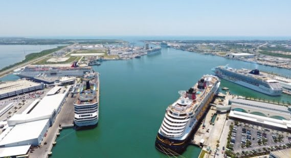File photo of a 6-ship day at Port Canaveral  (Photo: Canaveral Port Authority)