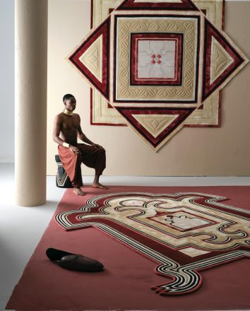 A wall embroidery and carpet, part of the Kinooni Dialogue series  by Fuli Carpets and Marcel Van Doorn